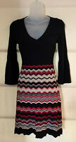 Nine West Chevron Striped Black Metallic Bell Sleeve Sweater Dress Sz PP $119