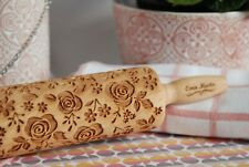 Roses Engraved Wooden Rolling Pin Embossed Dough Roller Carved Textured Molds