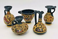 5 Miniature Greek Pottery Clay Vase Pitcher Urn Hand Painted Black Tan Yellow