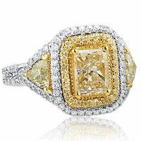 2.59 TCW Radiant Cut Yellow Trillion Side Diamond Engagement Ring 18k White Gold