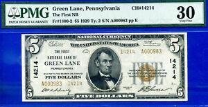Near TOP POP CH # 14214 - 1929 $5 (( 2nd Finest - Green Lane, PA )) PMG 30 #983-