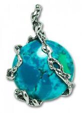 "Natural Chrysocolla Eilat Stone Pendant Silver 925 Gemstone Hand Made 1,3"""