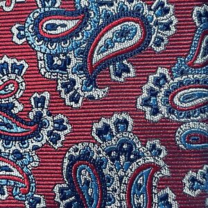 DANIEL CREMIEUX SIGNATURE Men's Red Blue PAISLEY Silk 7-FOLD Tie Italy NWT