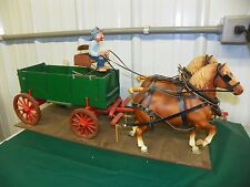 Vintage BREYER #94 Chestnut Sorrel Belgian Team Pulling Old Man Wagon Mounted