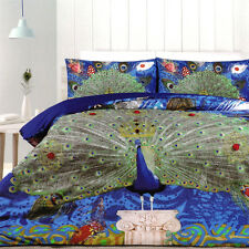 100% Cotton PEACOCK Embroidery KING Quilt Cover Set Green Blue Gold Brand NEW