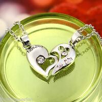 1Paar Halsschmuck Halskette Herz Strass Anhänger Modeschmuck Versilbert 45cm L/P
