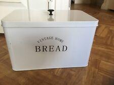 BREAD BIN WHITE vintage home metal country style rectangular 23 x 35cm, 23cmH gc