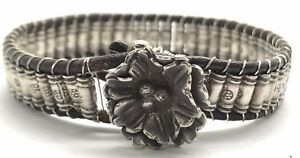 Vintage Sterling Silver Handcrafted Brown Leather Cylinder Flower Clasp Bracelet