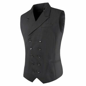 2021Mens Formal Business Suit Vests Wedding Party Double Breasted Turn Jacke