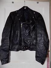 """unisex Vintage black leather Biker jacket 40"""" leather biker jacket"""