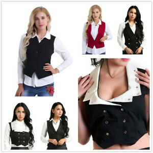 Women V-Neck Vest Shirt Suits Lady Work Uniform Business Office Formal Waistcoat