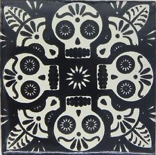 "Handmade Mexican Tile Sample Talavera Clay 4"" x 4"" Tile C399 Black"