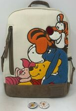 Loungefly Disney Winnie The Pooh Eeyore Piglet Tigger Chenille Backpack & Pins