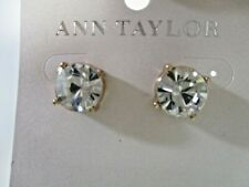 Ann Taylor Womens solitaire round Brilliant Crystal stud earrings NWT 29.99