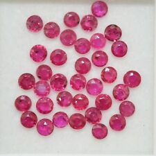 2.49 Cts Natural Ruby Round Cut 2.50 mm Lot 36 Pcs Lustrous Red Pink Gemstones