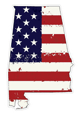 Alabama State (J3) USA Flag Distressed Vinyl Decal Sticker Car/Truck Laptop