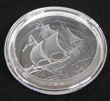 """Vtg Lalique Pinta Crystal Clear/Frosted Glass Ship Ashtray 7"""" Signed France"""
