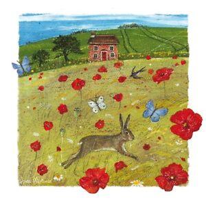 Hare Chasing Butterflies Greetings Card birthday Anne Mortimer blank inside