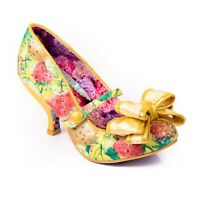 NEW IRREGULAR CHOICE *LOVE IS IN THE AIR* YELLOW FRUIT BOW ANKLE STRAP (C) HEELS