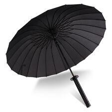 Japanese Samurai Fold Windproof Black Warrior Sword Handle Strap Katana Umbrella