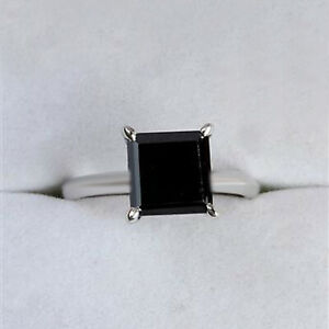 Solitaire 4.50Ct Square Cut With Natural Jet Black Diamond Ring In 925 Silver
