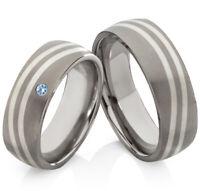 Eheringe Verlobungsringe aus Titan und 925 Silber mit echtem Topas TS633