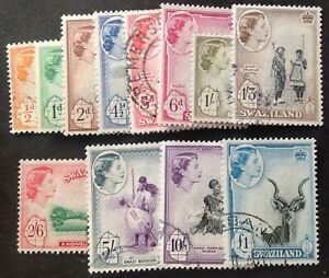 Swaziland 1956 Full Set Of 12 stamps to £1.00 vfu