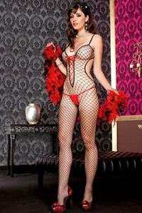 MUSIC LEGS Spandex Cut-Out Diamond Net Bodystocking with contrast Lace-Up