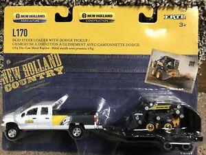 1:64 ERTL NEW HOLLAND Dodge Ram Pickup Truck With Trailer & L170 Skidsteer