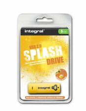 Integral SPLASH 8GB Yellow Water-Resistant Shock-Proof Rubberised USB Stick