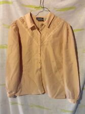 """Vintage """"Eric Leif"""" 1960's Nude Pleated Front Collared Button Down Blouse Sz 8"""