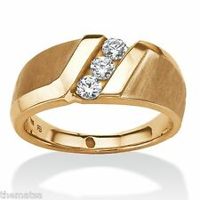 Channel White Sapphire Ring 14K Gold Over Sterling Silver Size 8 9 10 11 12 13