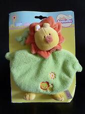 23/ DOUDOU PLAT JEMINI  BABY - LION  vert jaune orange grelot - NEUF SUR CARTON