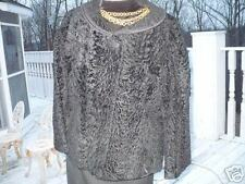 Fab Macy's black broadtail fur coat jacket bolero S-M