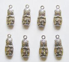 8 Metal Antique Silver Matryoshka Doll/Russian Doll Charms - 22mm