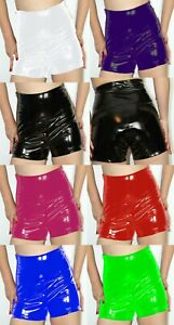 PVC HIGH WAISTED SHORTS BLACK RED BLUE SILVER  PURPLE 26-30 UK New With Tags