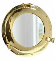 """Ship's Porthole Mirror 15"""" Solid Brass Round Nautical Maritime Wall Decor New"""