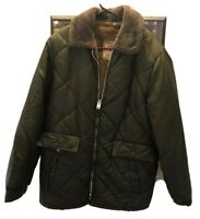 gordon ferguson Field & Stream Size Bomber Jacket Size 40 Green Faux Fur Lining