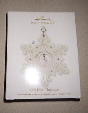 2011 Hallmark Our First Christmas Decoration Ornament Snowflake Cermic Porcelain