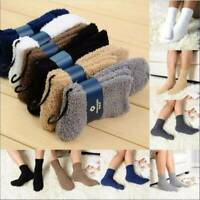 Mens Solid Color Cashmere Socks Fluffy Socks Thermal Cosy Sock Slipper Bed Socks