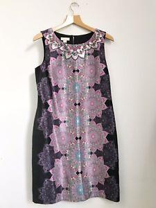 MONSOON Pink Purple Silky Mandala / Ethnic Print Dress With Beaded Neckline. 12