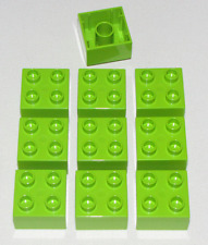 Lego Lot of 10 New LIME GREEN 2 X 2 DUPLO BRICKS BUILDING BLOCKS