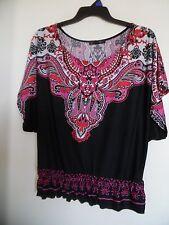 Heart Soul Size XL Women's Black Colorful  Boho Peasant Slinky Top