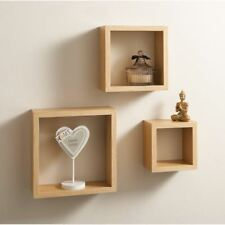 Set Of 3 Floating Cube Shelf / Shelves Wall Storage Oak