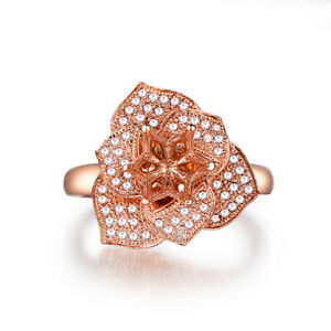 Round 6mm to 6.5mm 0.3CT Real Diamonds Flower Ring Luxurious Solid 18K Rose Gold