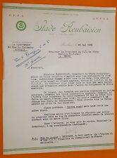 RARE FOOTBALL 1953 COURRIER EN-TETE STADE ROUBAISIEN ROUBAIX PROPOSITION JOUEUR
