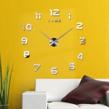 DHL! Wanduhr Uhr 3D Wandtattoo Deko Design Spiegel Metall Wand Uhr Groß XXL XL