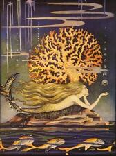 MERMAID FROM FAIRY TALE BOOK, CORAL, FISH, FRIDGE MAGNET