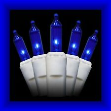 2.5 Volt Replacement Christmas Mini Lights - 100 BLUE Bulbs - White Base