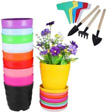 "10 Pack 3.54"" Plastic Planters Indoor Flower Plant Colorful Pots,Drainage System"